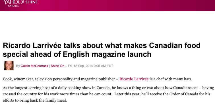 Ricardo Larrivée talks about what makes Canadian food special ahead of English magazine launch